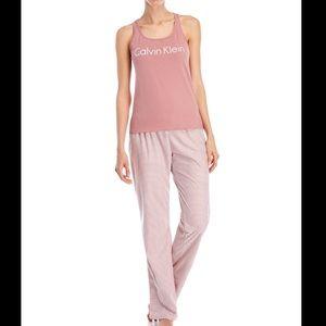 Calvin Klein Striped Sleepwear Set Dusty Rose L